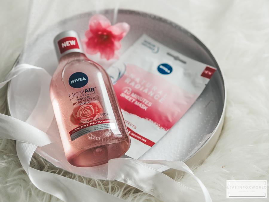 Nivea Micelárna voda s obsahom olejov z ružovej vody a textílna maska pre rožiarenú pleť