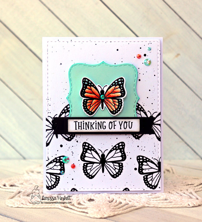 Butterfly Card by Larissa Heskett | Monarchs Stamp Set, Frames and Flags Die Set and Circle Frames Die Set by Newton's Nook Designs #newtonsnook #handmade
