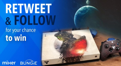Microsoft wants you to retweet a specially marked tweet on Twitter for a chance to win this really cool specialty Destiny themed Xbox console worth $500!