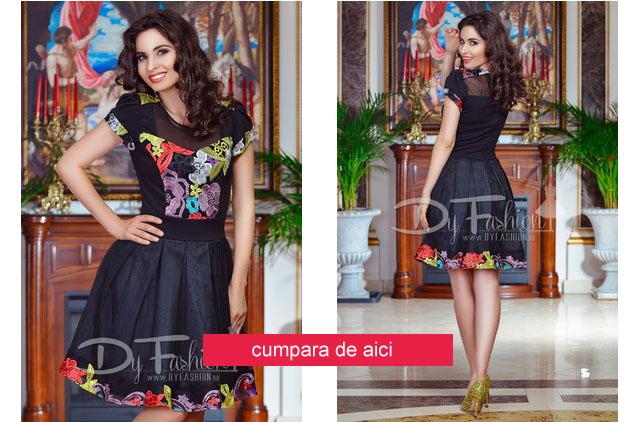 Rochie scurta eleganta neagra, cu pliuri in clos si broderie colorata florala