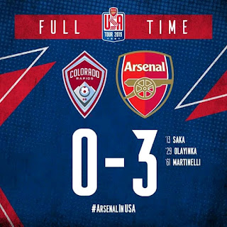 Arsenal Football Club Begins Their Pre Season With A Comfortable Win Over United States Colorado Rapids By 3 Goals To Nothing With Goals From Two Nigerians Named Saka And Olayinka Before Martinelli Round Off The Scoring To Make Sure The Gunner Got Off The Pre Season Campaign With A Win.