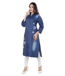 Best A.B.C. Garments Blue Denim Straight Kurti
