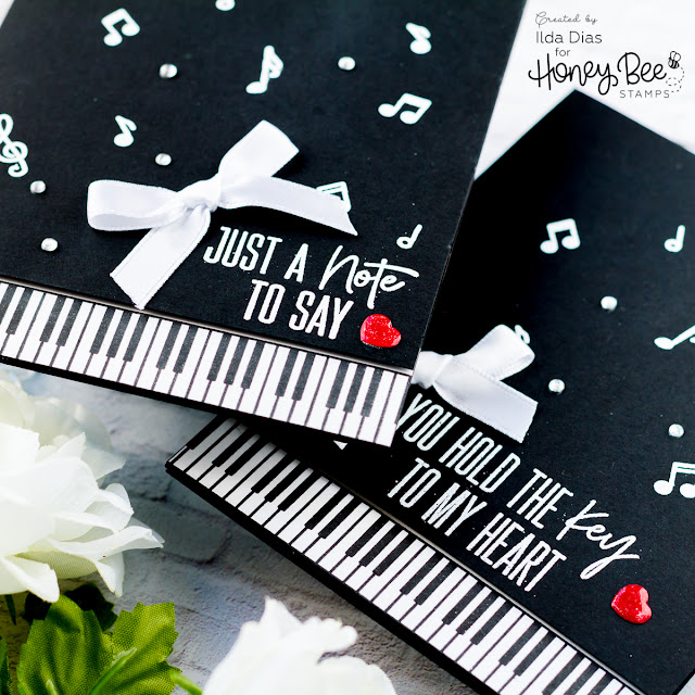 Simple Piano Cards for Honey Bee Stamps by ilovedoingallthingscrafty.com