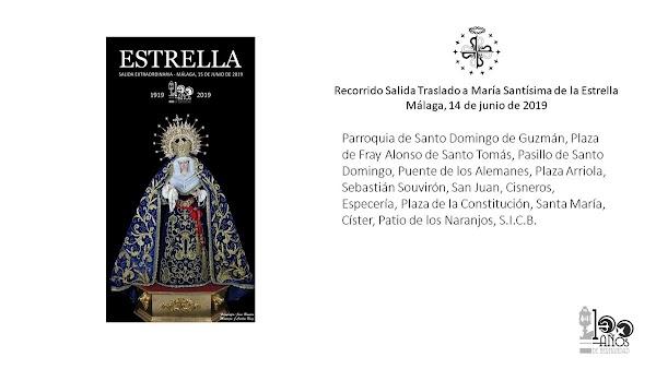 Horarios e Itinerarios del Traslado y Salida Extraordinaria de Nuestra Señora de la Estrella de Málaga