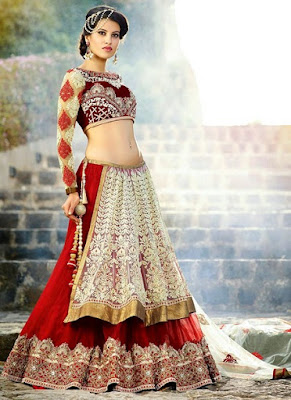 Latest-indian-bridal-lehenga-sarees-2017-with-new-blouse-designs-10