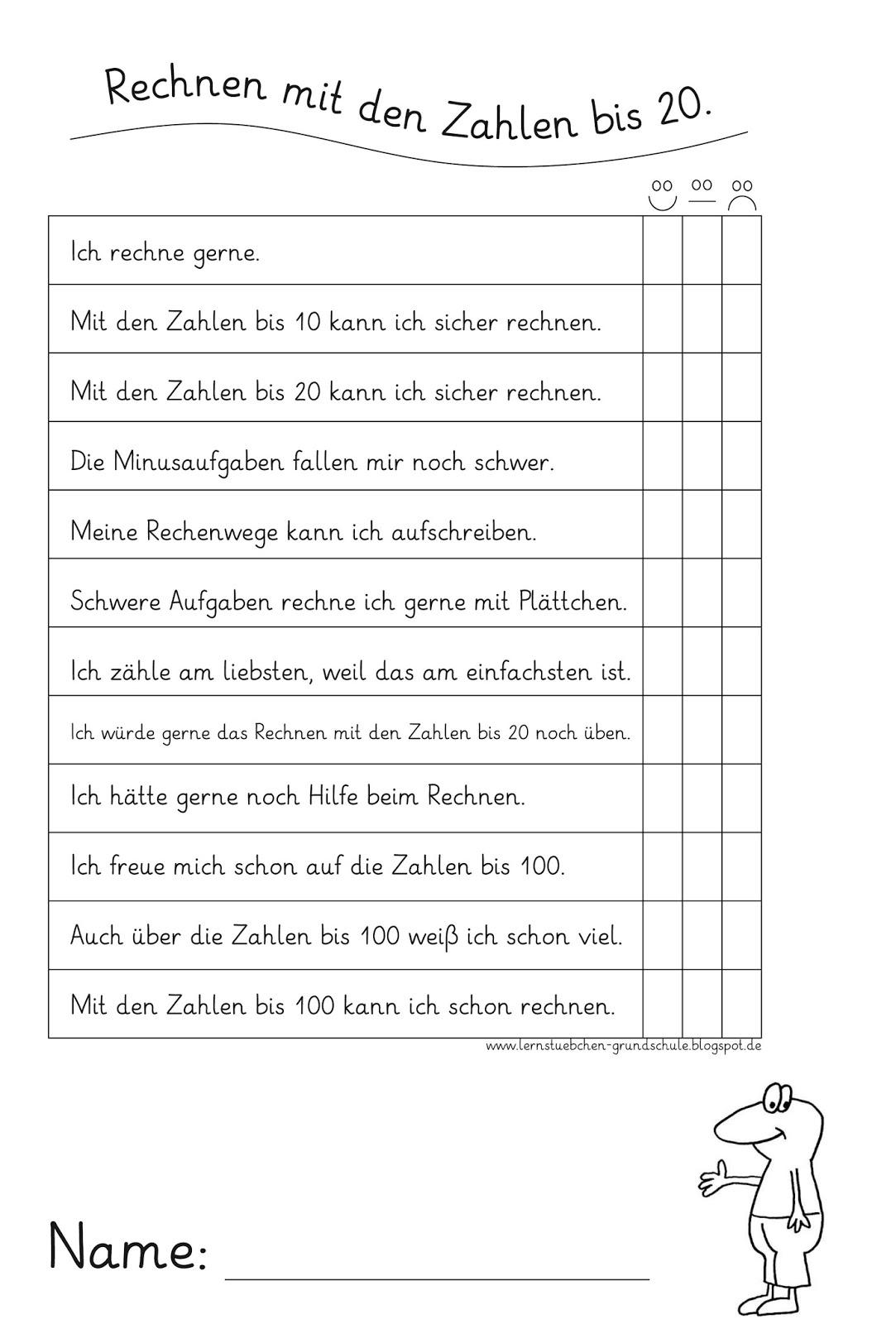 Lernstübchen: Mein Lernstand rund um die Zahlen bis 20