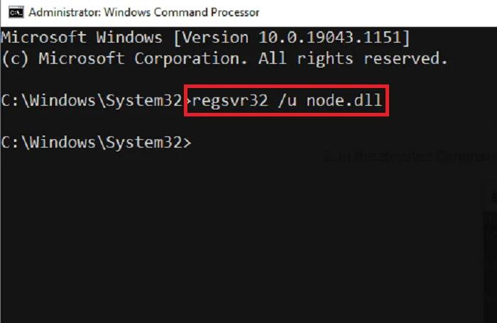 Un-register node.dll Command Prompt
