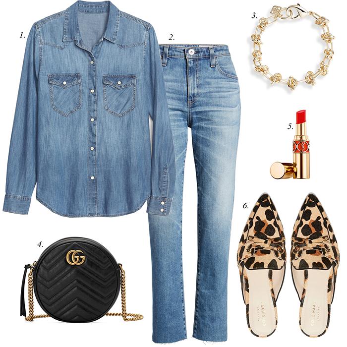 leopard mules, denim shirt, chain bracelet, spring outfit