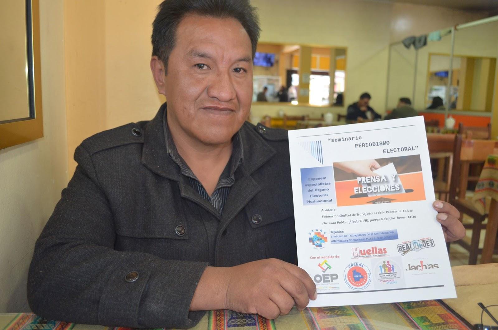 Rodolfo Apaza, ejecutivo del Sindicato de Trabajadores en Medios Alternativos y Comunitarios / ALBERTO MEDRANO
