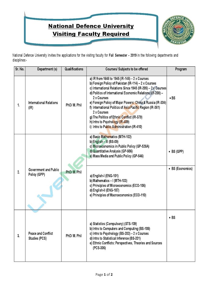 National Defence University Visiting Faculty Required