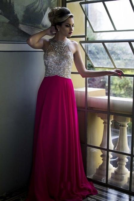 vestido de festa pink bordado