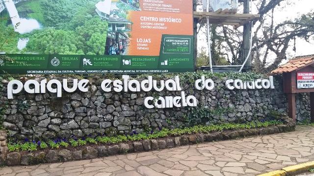 Entrada do Parque do Caracol, em Canela, nas Serras Gaúchas