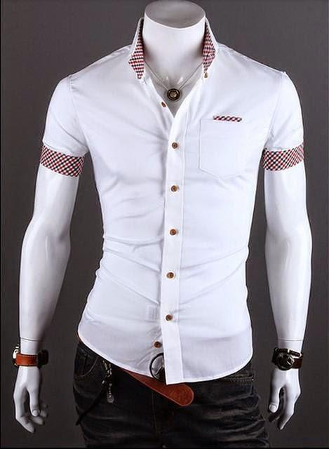 Camisa Casual Slim Fit Manga Curta Detalhe no Bolso e Mangas - Branca (MH476)