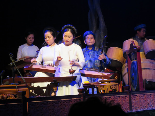 Traditional North Vietnamese musicians at Thang Long Water Puppet Theatre in Hanoi Vietnam