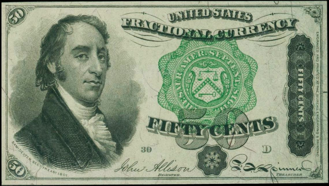 Fractional Currency 50 Cent note Dexter 1863 Fourth Issue