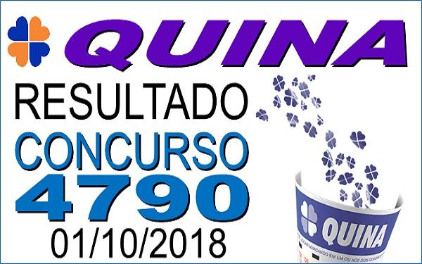 Resultado da Quina concurso 4790 de 01/10/2018 (Imagem: Informe Notícias)