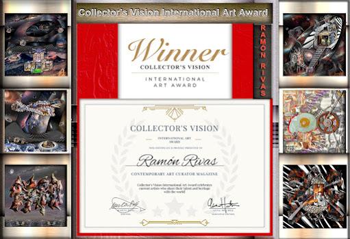 Insignia y Certificado  del Premio Internacional de Arte Collector's Vision otorgado a Ramón Rivas