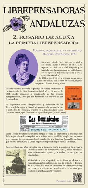 Panel dedicado a Rosario de Acuña (Imagen cedida por Manuel Almisas Albéndiz)