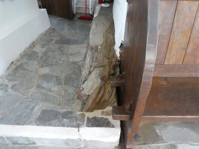 Bare rock protruding out into corridor