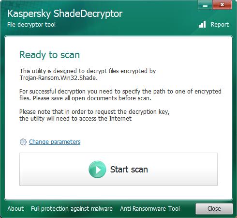 Kaspersky ShadeDecryptor inicio scan