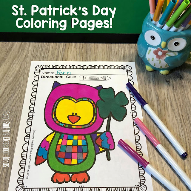 You will LOVE the 41 coloring pages that come in this St. Patrick's Day coloring pages resource! Perfect for Kinder & First Grade Teachers for March! #FernSmithsClassroomIdeas