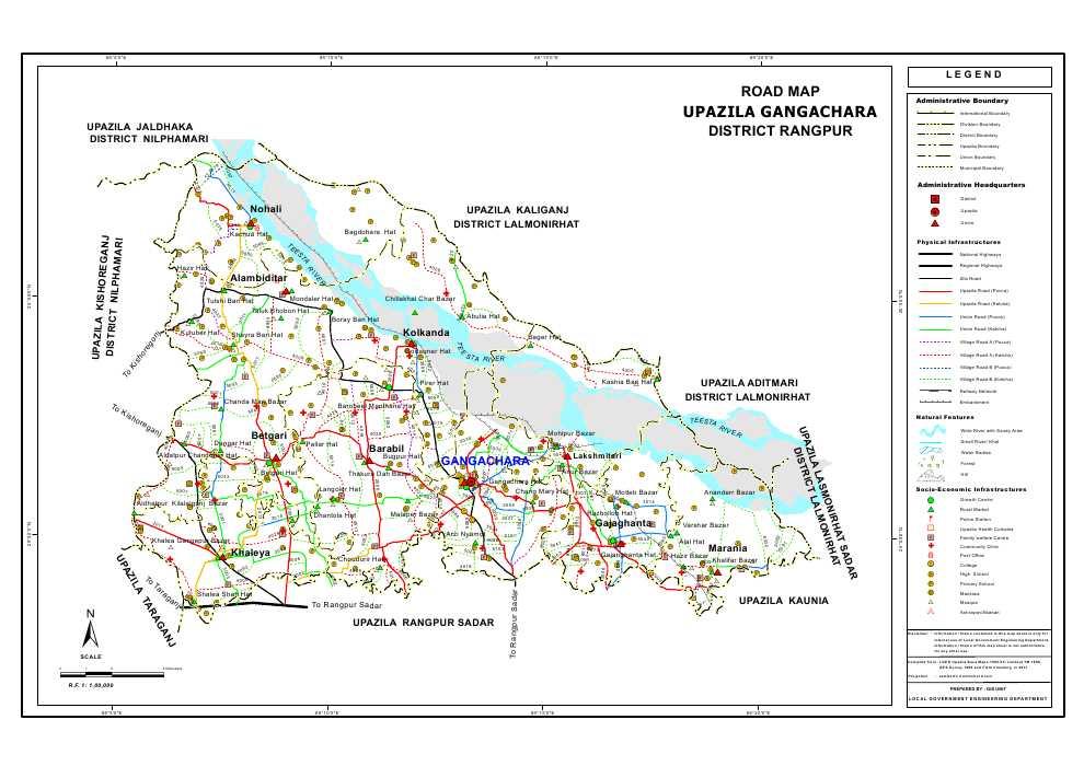 Gangachara Upazila Road Map Rangpur District Bangladesh