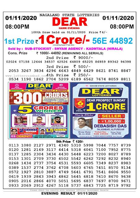 Lottery Sambad 01-11-2020 Today Results 8:00 pm, Nagaland State Lottery Sambad Today Result 8 pm, Sambad Lottery, Lottery Sambad Live