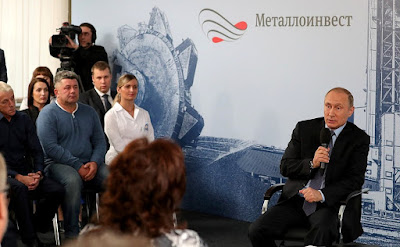 Vladimir Putin with Lebedinsky GOK workers.