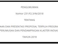 Proposal Program Pendanaan Perumusan dan Pendampingan Klaster Inovasi Tahun 2018