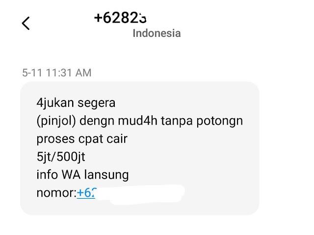 SMS tawaran pinjol