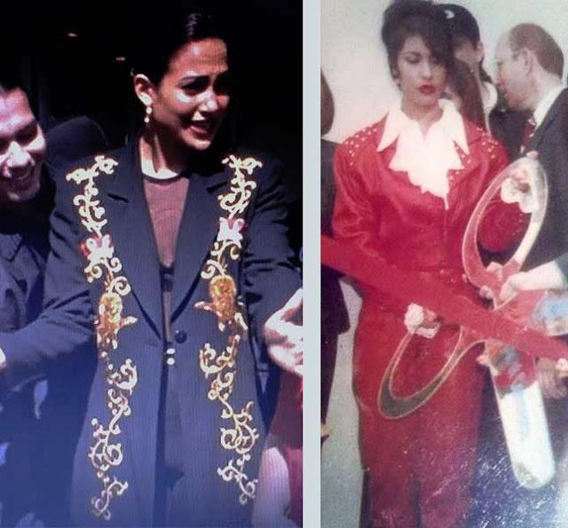 Selena no filme e ao lado na vida real