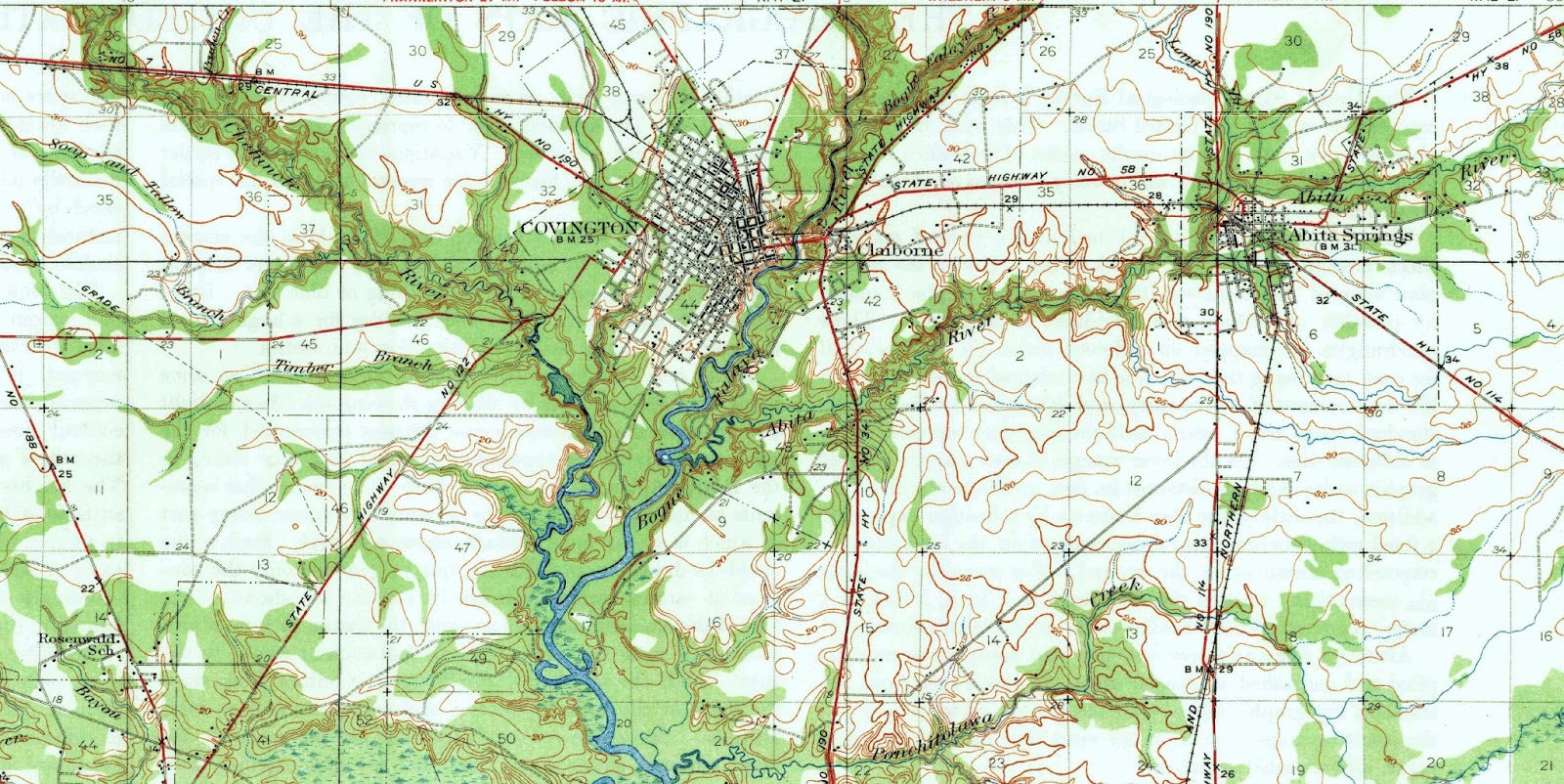 the first image below is of the covington area from a 1935 usgs topographical map and the second image is the mandeville area from the same map