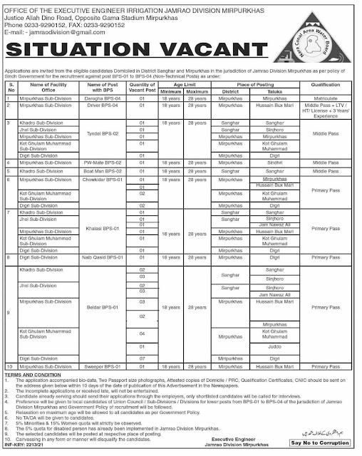 Irrigation Department Sindh Jobs 2021 Latest  Jobs in Pakistan Jobs in Karachi