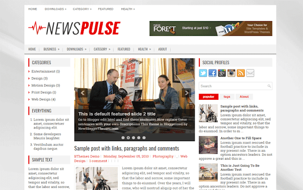 NewsPulse Free Blogger Template
