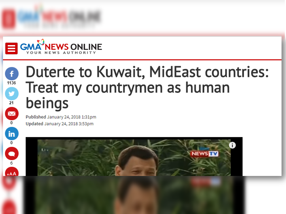 "President Rodrigo Duterte appealed to Kuwait and other Middle Eastern countries to treat Filipino workers ""as human beings""  reports of maltreatment and abuses, resulting in deaths of some OFWs. If this would continue, he is ready to order the pull-out of the OFWs from Kuwait.  ""Can I ask you now just to treat my countrymen as human beings with dignity,"" Duterte, who is bound for New Delhi for the ASEAN-India Special Commemorative Summit, said during his pre-departure speech at the Ninoy Aquino International Airport.   Duterte's statement was met with applause from those present in the event.  ""I do not want to fight with you. We are poor, we may need your help, but we will not do it at the expense of the dignity of the Filipino.""  Before Duterte made the remark, he acknowledged the presence of Foreign Affairs Secretary Alan Peter Cayetano, who will join him in India. ""I hope I am not committing a diplomatic faux pas,"" hesaid.  He also reiterated his warning of a total deployment ban to Kuwait if he hears another tale of abuse. Sponsored Links  ""And I'm sorry, the Filipinos there, you can all go home. Tutal 'pag na — nag-alis kayo lahat na mga Pilipino diyan, they will also be having a hell of a time adjusting to that,"" he said.  ""Hindi ako papayag na… a continuous incident of things like that. They have to endure rape, they have to endure starvation, and they get about only four hours — that's a universal story for all Filipinos,"" Duterte added.  An estimated 10 million Filipinos work overseas, majority of them in the Middle East, and the money they send home helps spur economic growth. In Kuwait, there is an estimated 260,000 Filipino workers, 170,000 of them employed as household service workers (HSWs), who are considered vulnerable and prone to abuses.  Last week, the Department of Labor and Employment (DOLE) suspended the deployment of newly hired OFWs to Kuwait pending investigation on the deaths of seven Filipino workers there.  Labor Secretary Silvestre Bello III ordered the suspension a day after Duterte said he is mulling banning the deployment of OFWs to Kuwait amid reports of maltreatment.  On Wednesday, Duterte said he will ""never again"" tolerate another incident of a Filipino worker getting raped abroad.  ""I hope that you'd listen to me because I mean well, but I will never, never, never again tolerate another incident of rape to the point of committing of suicide, jumping out the window. That is something the Filipino people cannot stomach,"" he said.  ""If I can't do something about it, then there's no reason for me to stay in this position any minute longer,"" Duterte added.  Sami Abdulaiz Al Hamad, Assistant Foreign Minister for Consulate Affairs Ambassador, has met with Philippine Ambassador to Kuwait Renato Pedro Villa Jr. to request for the lifting of the suspension. Source: GMA      Read More:  10 Reasons Why Filipinos Love Canada  Comparison Of Savings  Account In The Philippines:  Initial Deposit, Maintaining  Balance And Interest Rates  Per Annum   Mortgage Loan: What You Need To Know    Passport on Wheels (POW) of DFA Starts With 4 Buses To Process 2000 Applicants Daily    Did You Apply for OFW ID and Did You Receive This Email?    Jobs Abroad Bound For Korea For As Much As P60k Salary    Command Center For OFWs To Be Established Soon   ©2018 THOUGHTSKOTO  www.jbsolis.com   SEARCH JBSOLIS, TYPE KEYWORDS and TITLE OF ARTICLE at the box below"