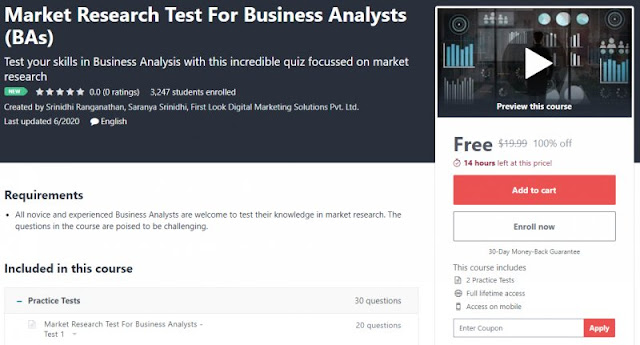 [100% Off] Market Research Test For Business Analysts (BAs)| Worth 19,99$