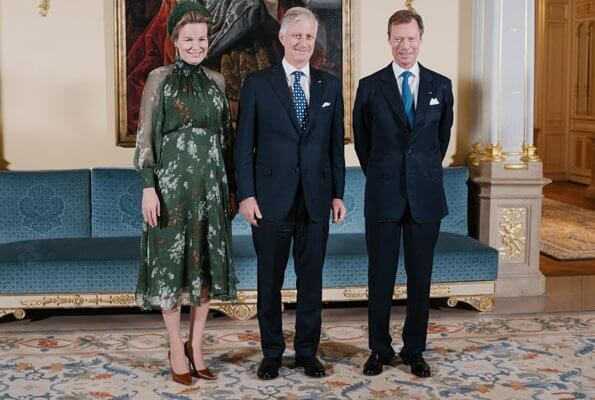 Queen Mathilde wore a floral print dress by Natan. Grand Duchess Maria Teresa. Princess Stephanie