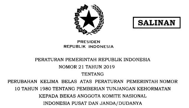 PP Nomor 21 tahun 2019