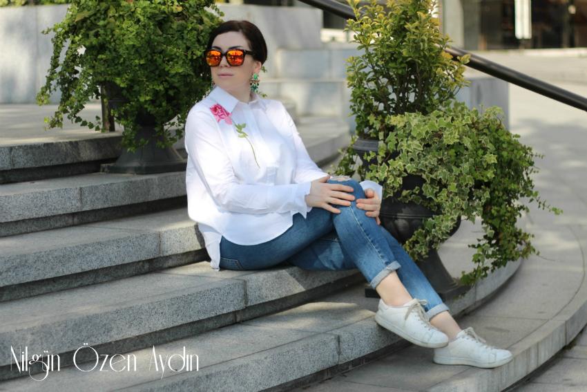 alışveriş siteleri-alışveriş-Gül Nakışlı Gömlek-küpeler-taşlı küpeler
