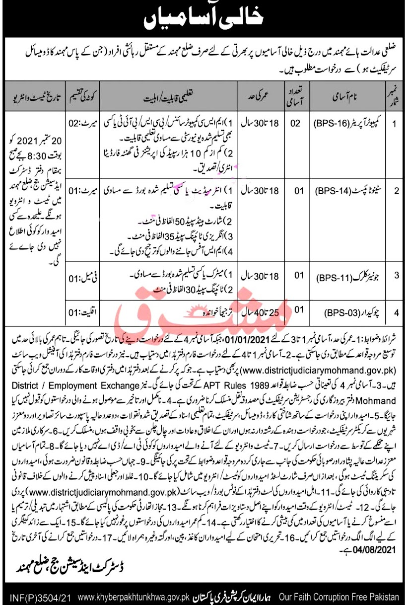 Latest Jobs in District And Session Court 2021- Download Application Form
