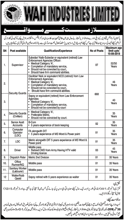 Latest Vacancies Announced in Wah Industries Limited POF WAH 20 September 2018 - Naya Pak Jobs
