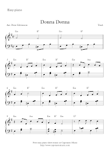 Donna Donna Free easy piano sheet music