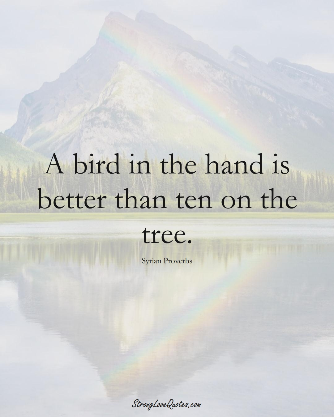 A bird in the hand is better than ten on the tree. (Syrian Sayings);  #MiddleEasternSayings