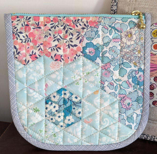 Liberty epp hexie zipper pouch in pastel floral prints