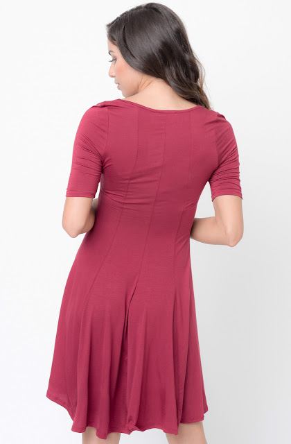 Buy Now Burgundy Paneled Flared Dress Online $34 -@caralase.com
