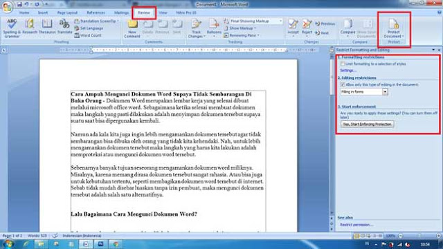 Cara restrict documen pada office word