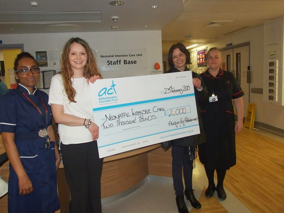 Holding Addenbrookes Charity Cheque