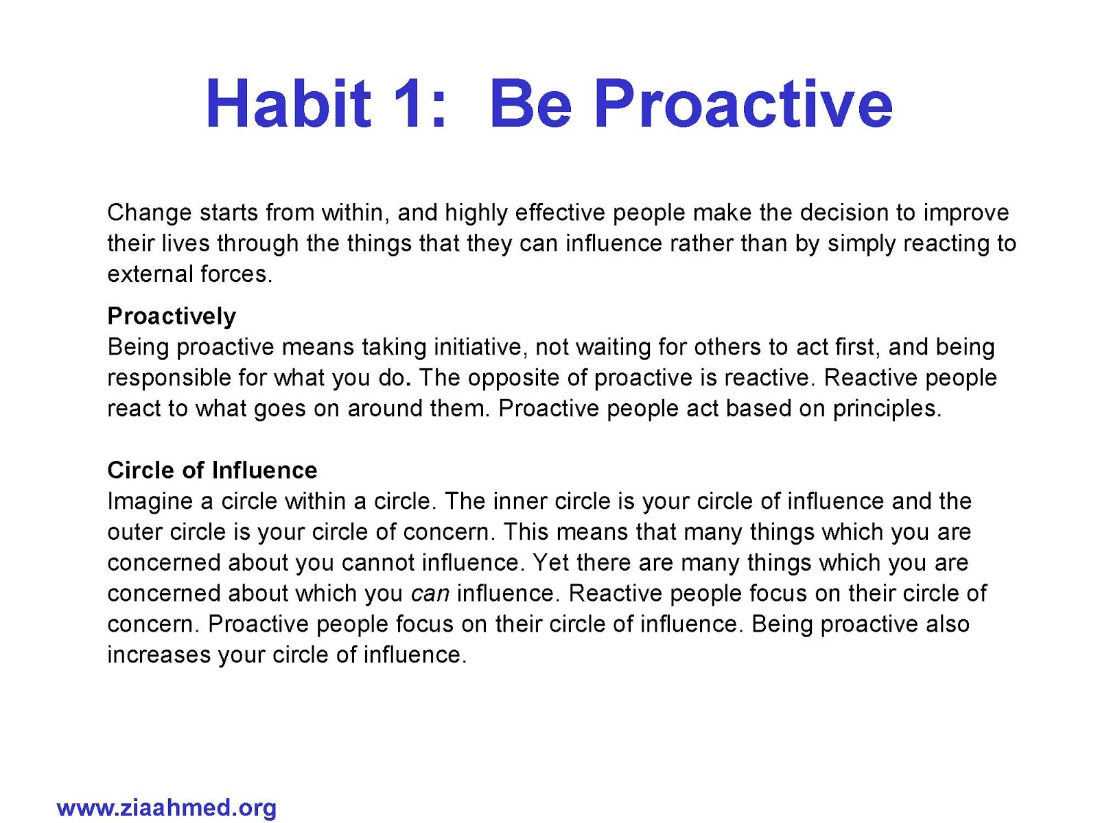 29 Habit 1 Be Proactive Worksheet