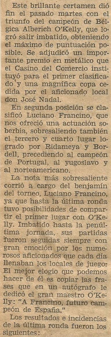 I Torneo Internacional de Terrassa 1960, crónica final en el Diario de Terrassa