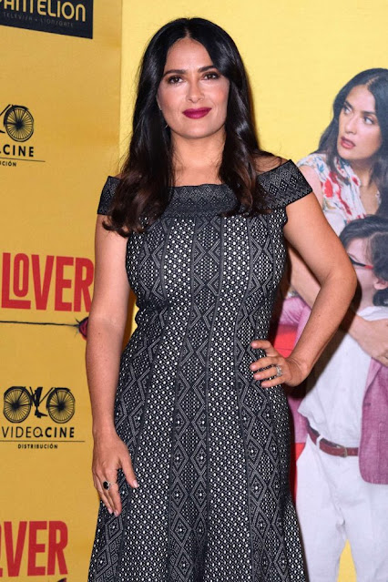 Actress Salma Hayek Latest Photos in Black Dress Navel Queens